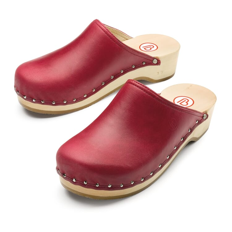 Berkemann Nappa Clogs, Red