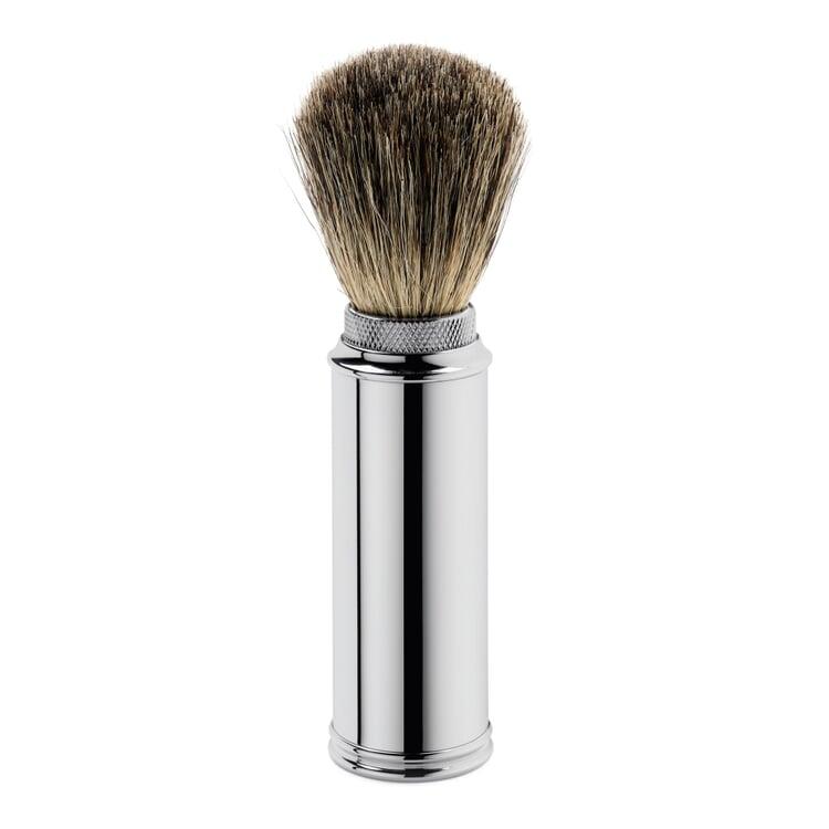 Travel shaving brush, nickel-plated brass