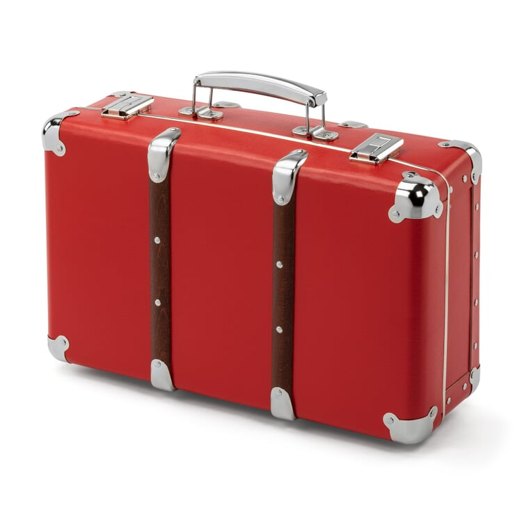 Red Cardboard Suitcase with Wooden Slats Width 40 cm