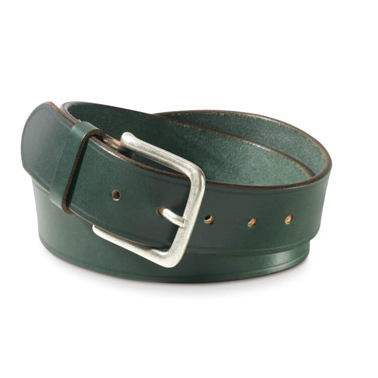 English Saddle Leather Belt by Kreis, Dark Green