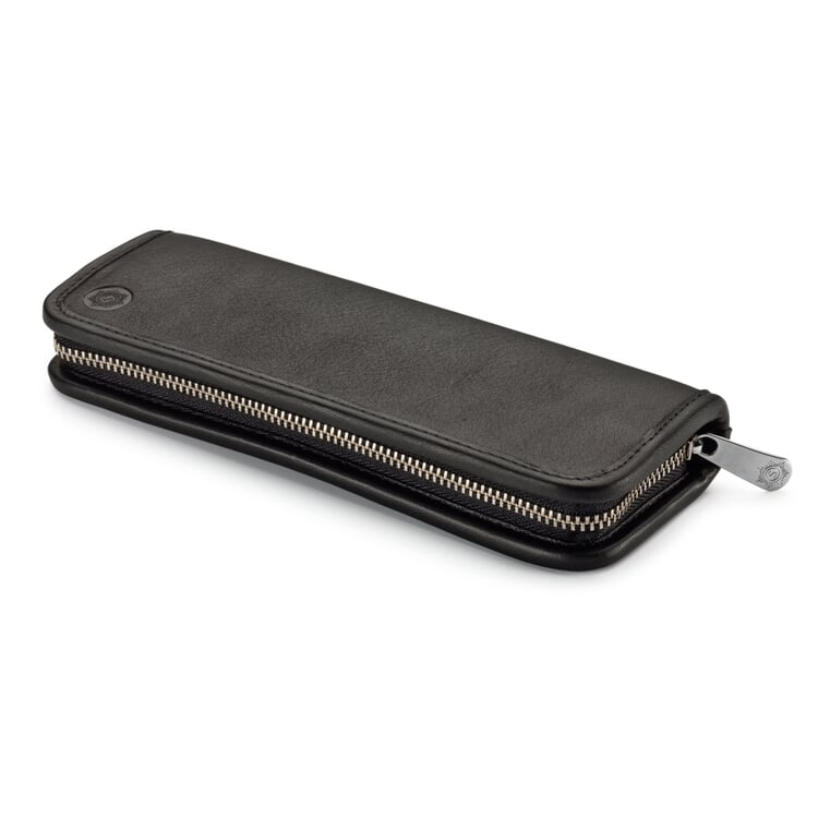 Red Leather Pen and Pencil Case Black