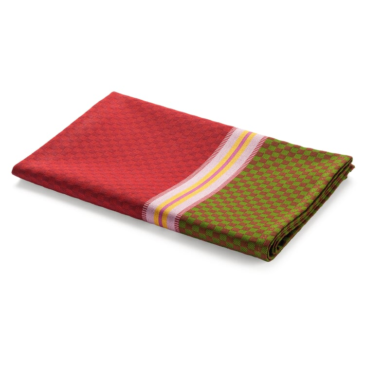 Tea Towel Chequers Red and Green
