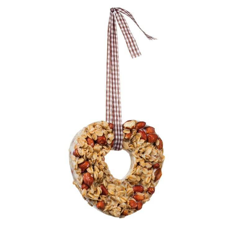 Heart-Shaped Bird Feeder with Oat Flakes and Peanuts