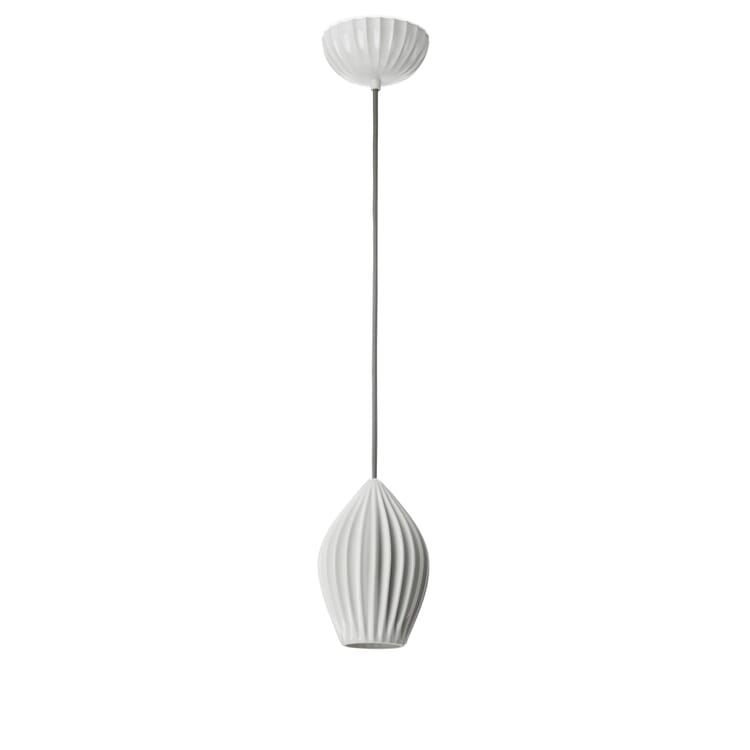 Pleated Bone China Pendant Lamp