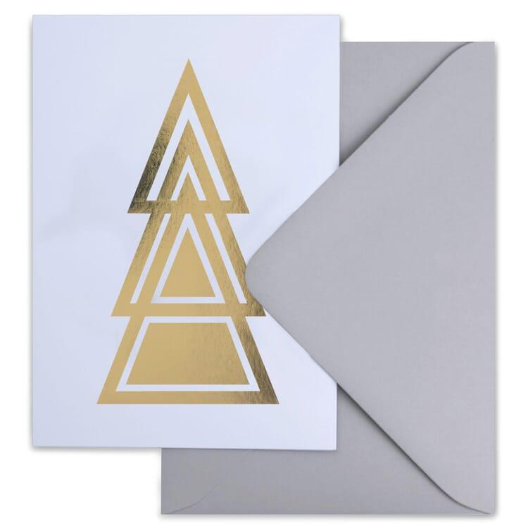 Weihnachtskarte grafisch gold, Tannenbaum