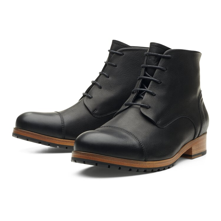 Zeha Ankle High Men's Shoes Made of Cow Leather Black