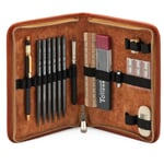 Leather Pen Attache With Contents Nature