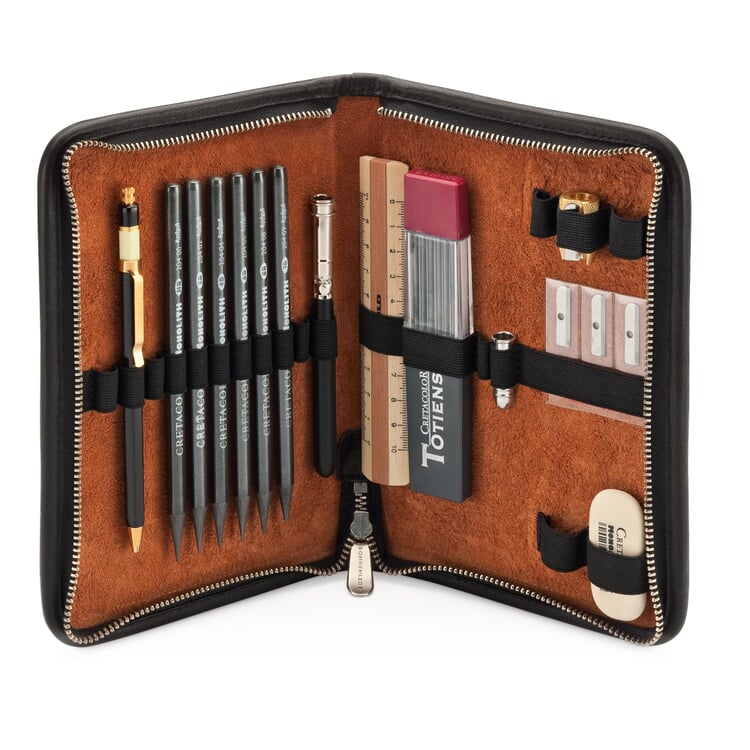 Leather Pen Attache With Contents Black