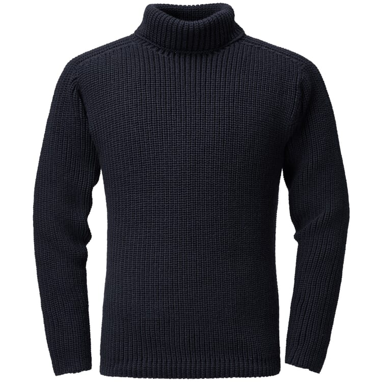 Men's Sweater Fisherman's Rib Stitch by Hannes Roether, Navy Blue