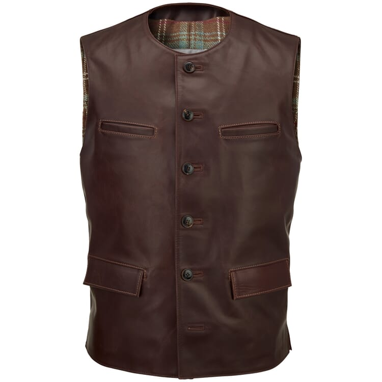 Men's Vest Made of Horse Leather by Hack, Auburn