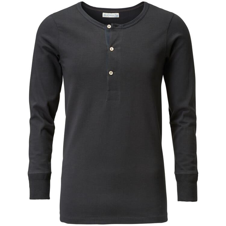 Long-Sleeved Men's Shirt Made of Jersey by Merz b. Schwanen, Anthracite