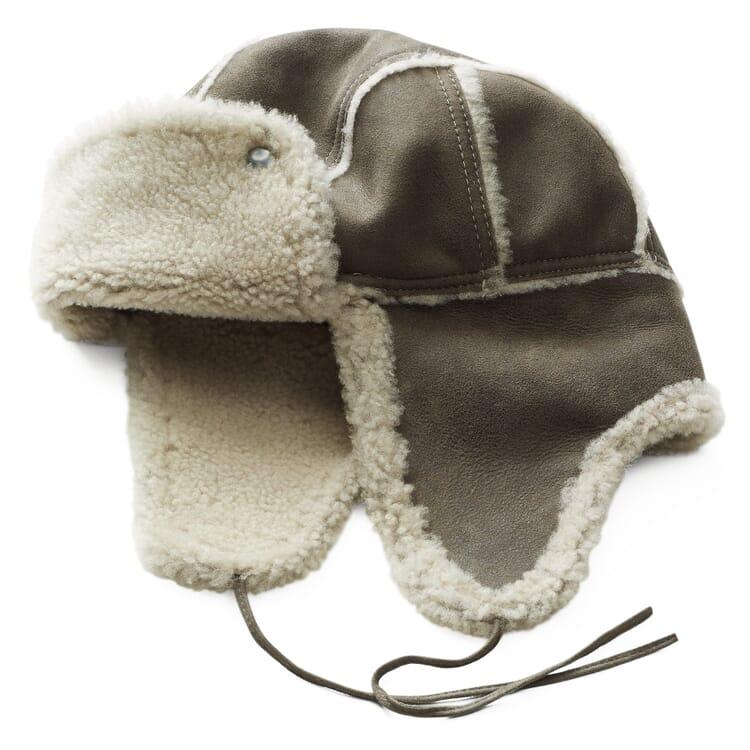 Herren Lammfellmütze, Grau-Braun
