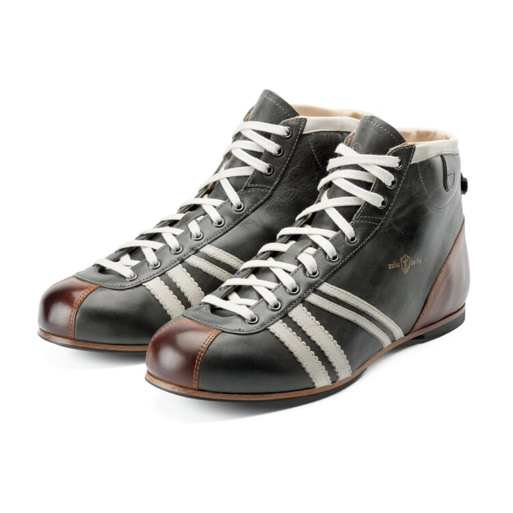 """Leather Sports Shoes """"Derby"""" by Zeha, Grey"""