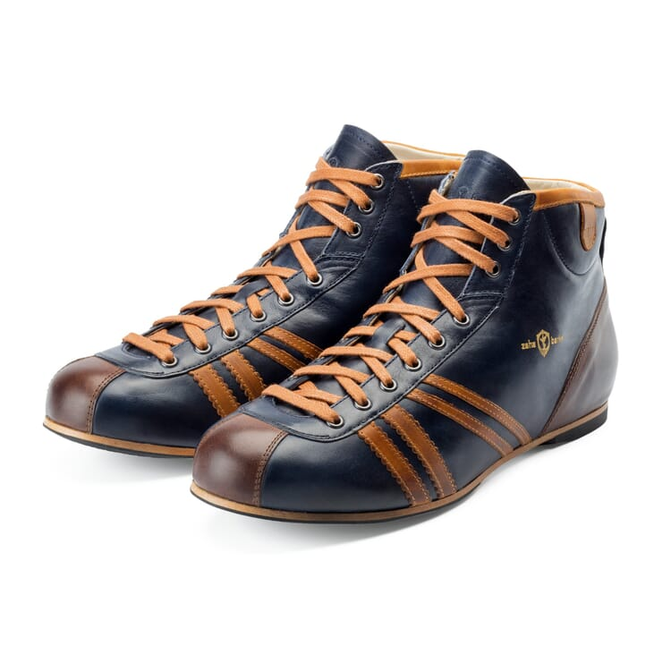 """Leather Sports Shoes """"Derby"""" by Zeha, Dark Blue"""