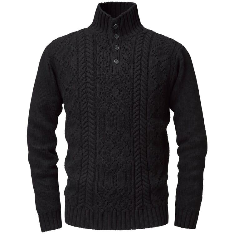 Men's Aran Sweater with Half-Zip Collar by Inis Meáin, Black