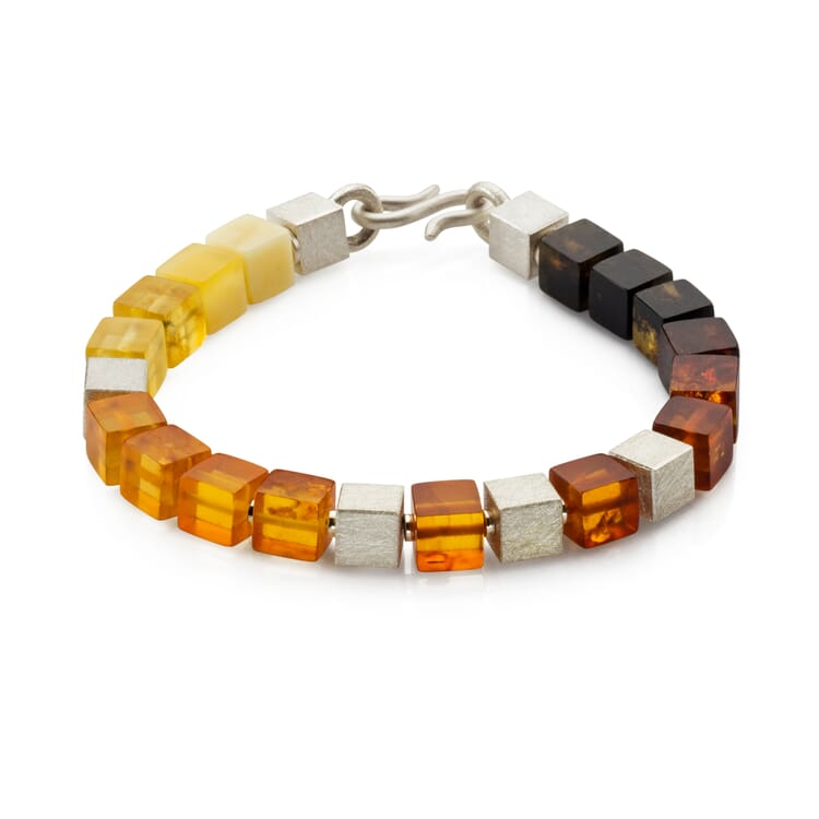 Bracelet Made of Silver and Amber Cubes