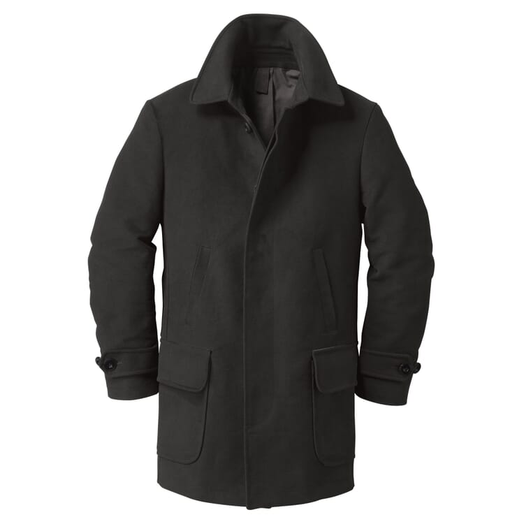 Men's  Car Coat Made of Moleskin Cotton, Black