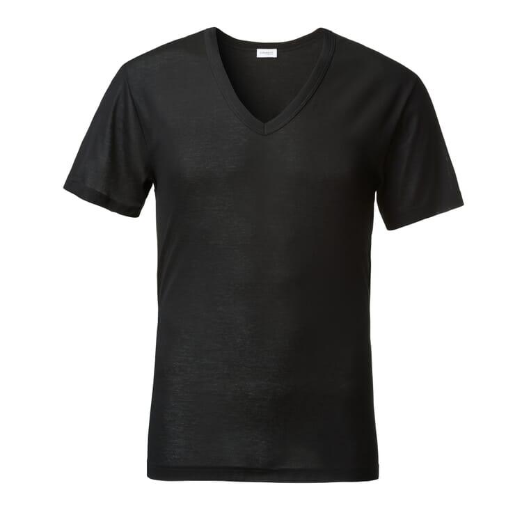 Men's Teeshirt with V-Neck by Zimmerli, Black