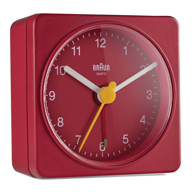 Analogue Alarm Clock by Braun, Red and Red
