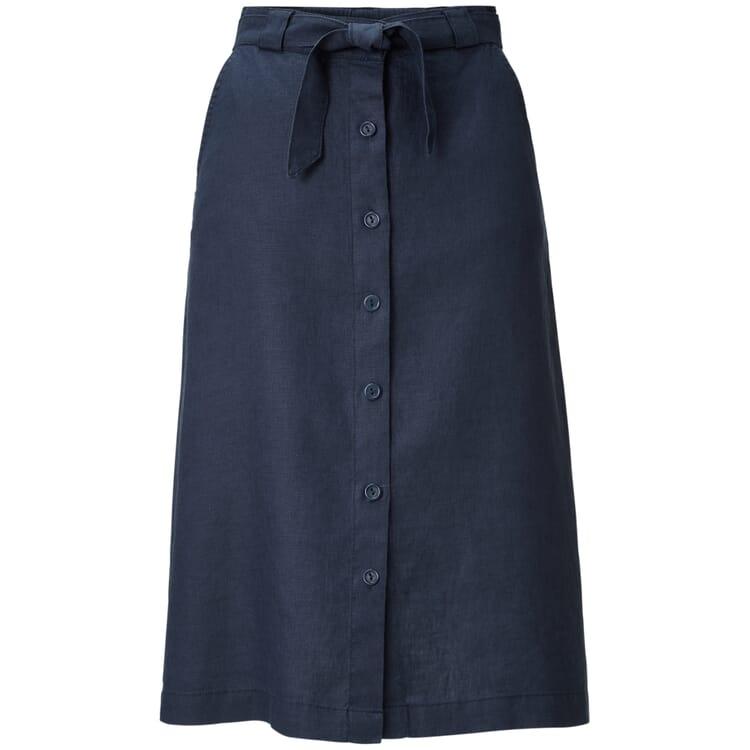 Women's Buttoned Skirt Made of Linen, Blue