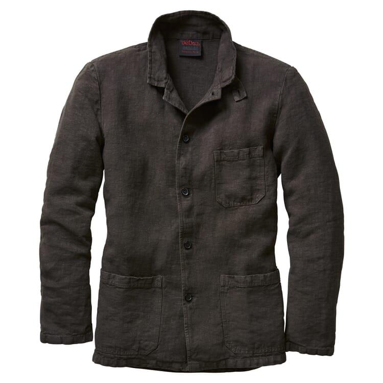 Men's Shirt Jacket Made of Linen, Graphite