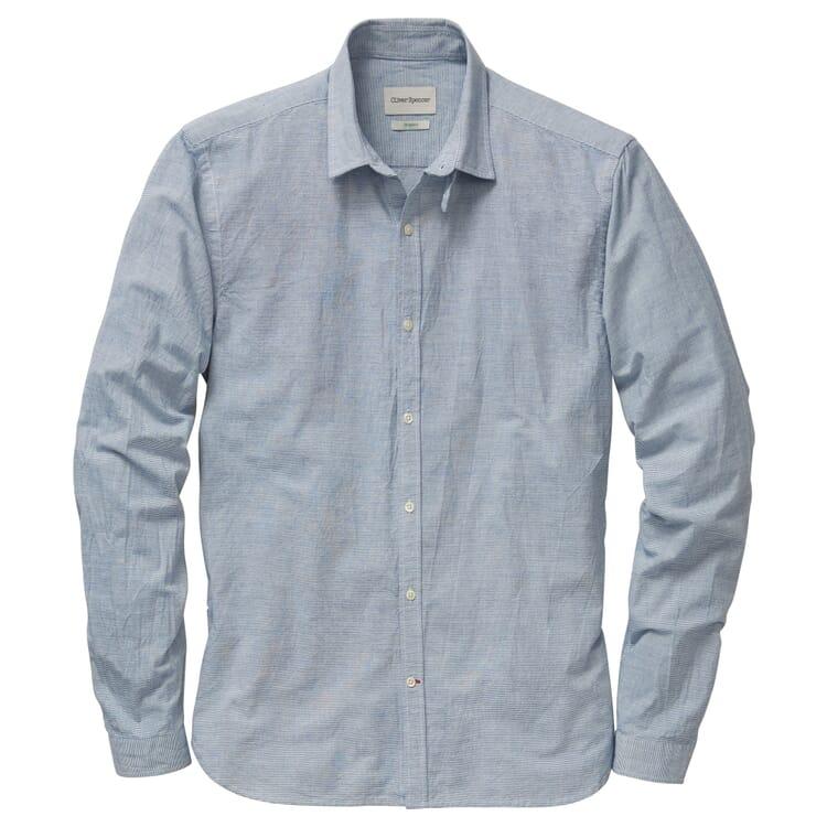 Herrenhemd mit Kragenriegel, Weiß-Blau