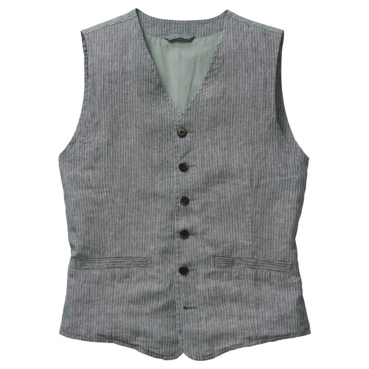Men's Hauler Vest Made of Striped Cotton Linen Fabric, Grey-White