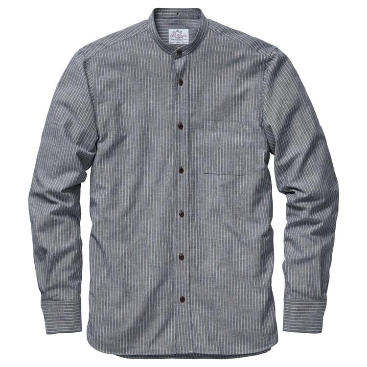 Men's Buccanoy Shirt Made of Striped Cotton Linen Fabric, Blue-White
