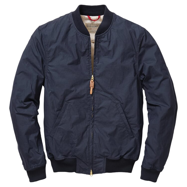 Men's Bomber Jacket Made of Waxed Cotton, Navy Blue