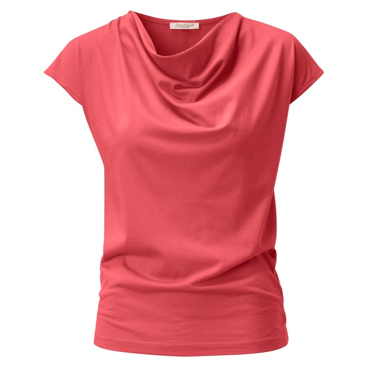 Women's T-Shirt with Draped Neckline Cascade, Strawberry Red