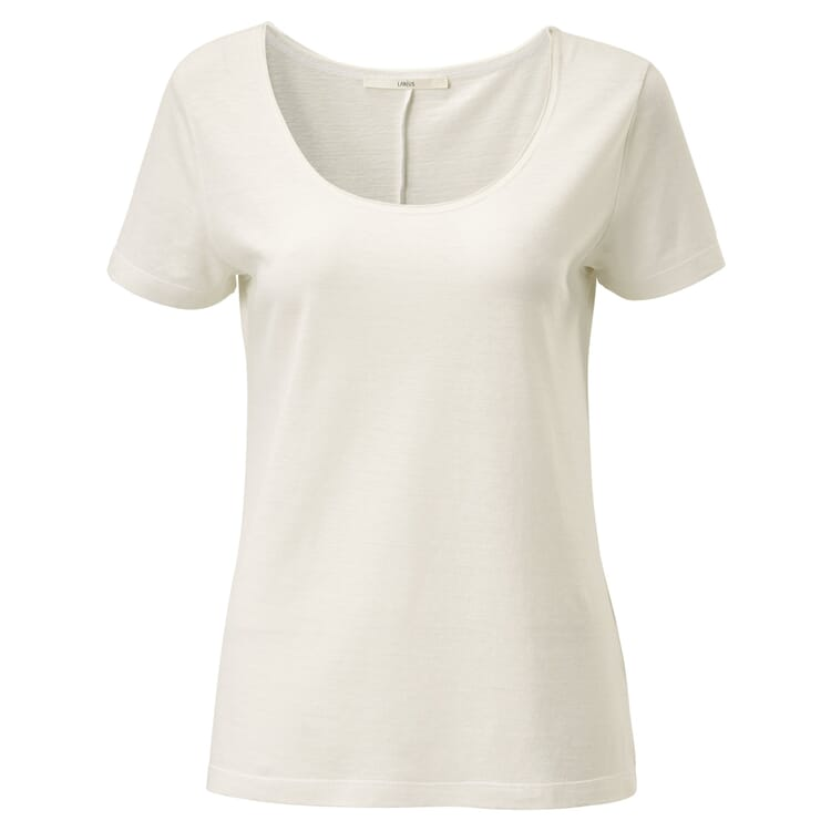 Women's T- shirt with a Deep Round Neck, Creme