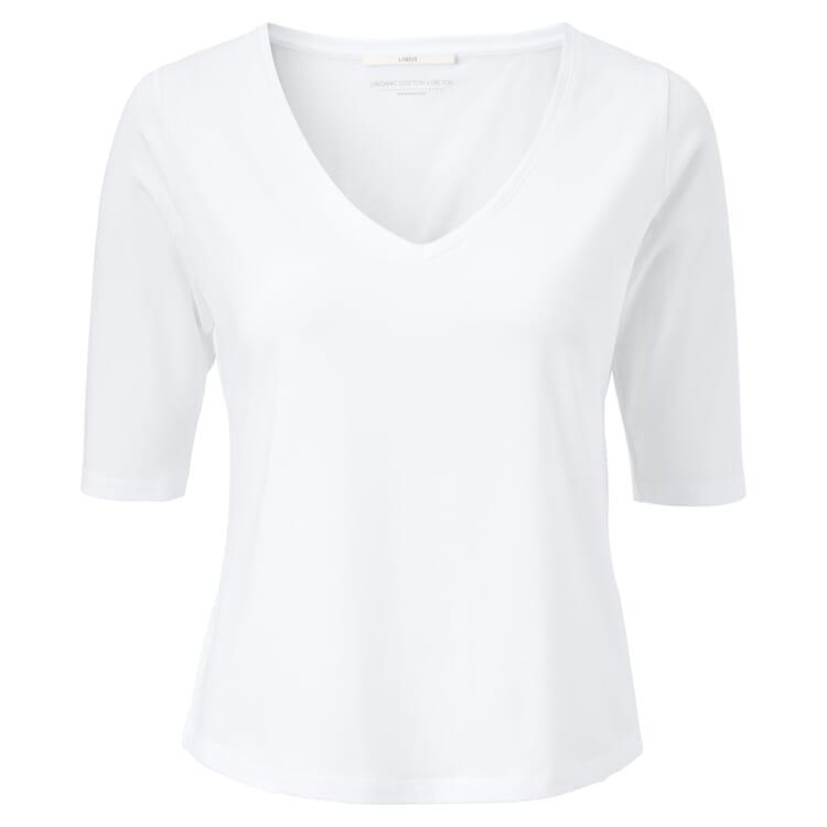 Damenshirt V-Ausschnitt, Weiß