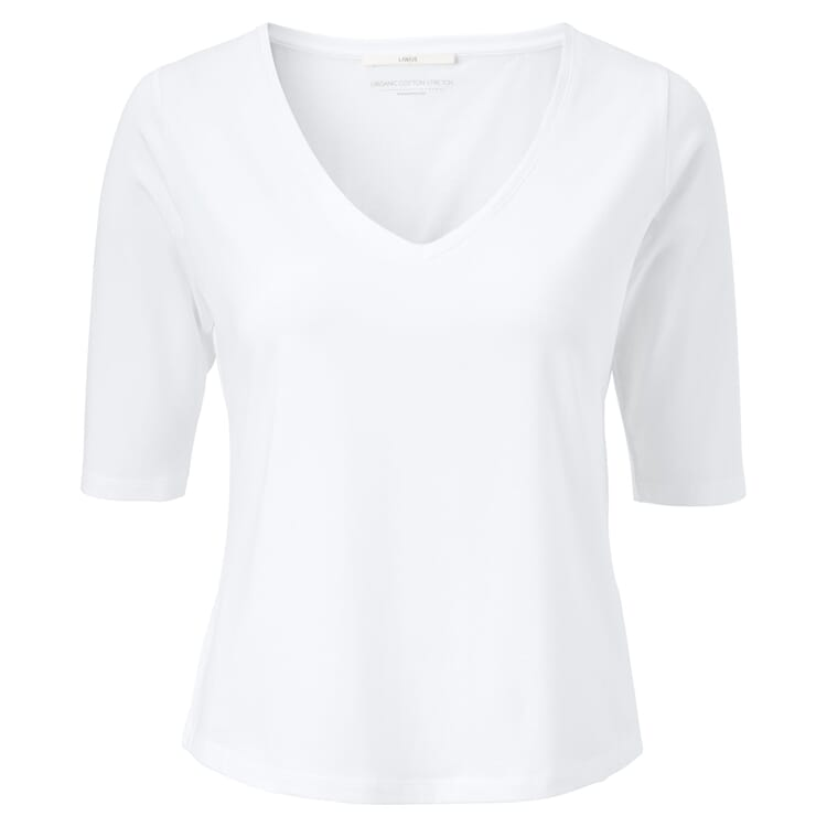 Women's T-shirt with Deep V-Neck, White