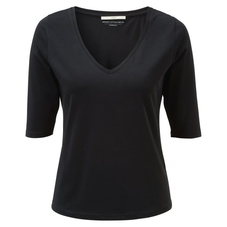 Damenshirt V-Ausschnitt, Schwarz