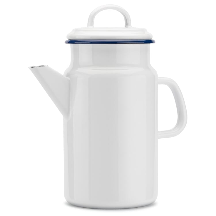 Tea and Coffee Pot Enamel in White and Blue