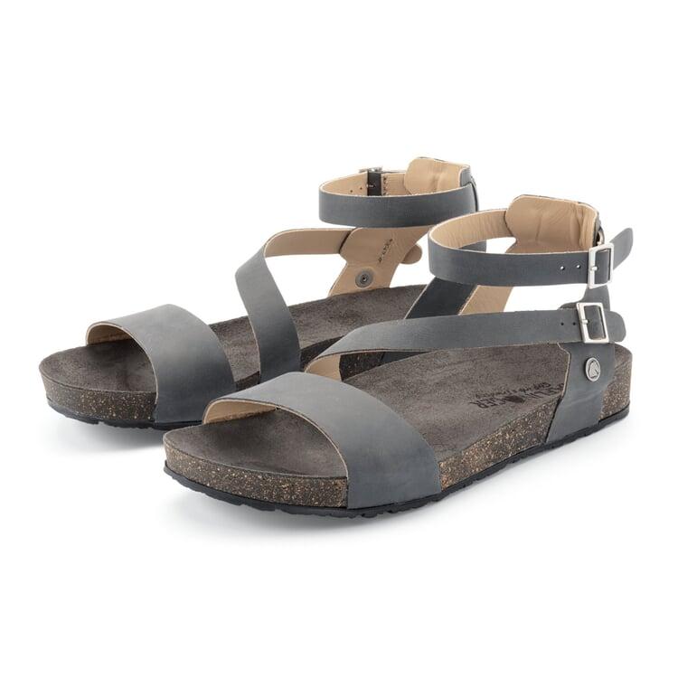 Damensandale mit Fußbett Graublau