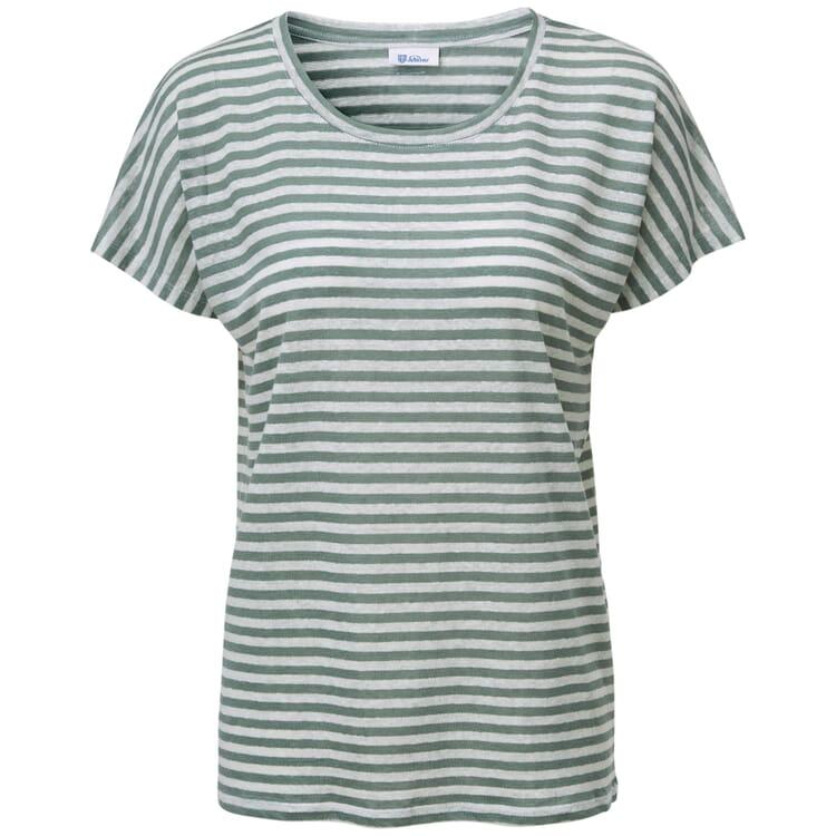 Damen-Leinenshirt, Grün-Weiß