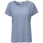 Damen-Leinenshirt Blau-Weiß