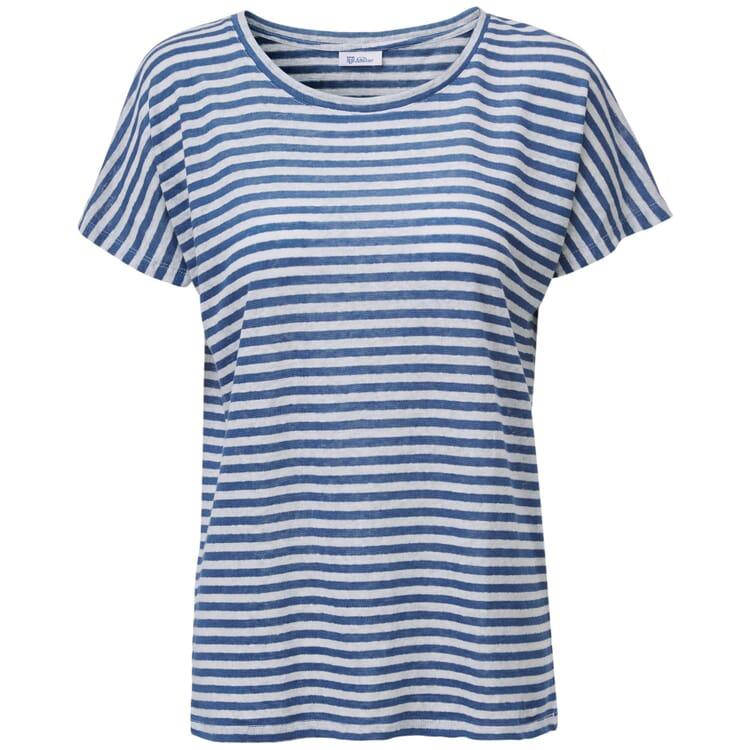Damen-Leinenshirt, Blau-Weiß
