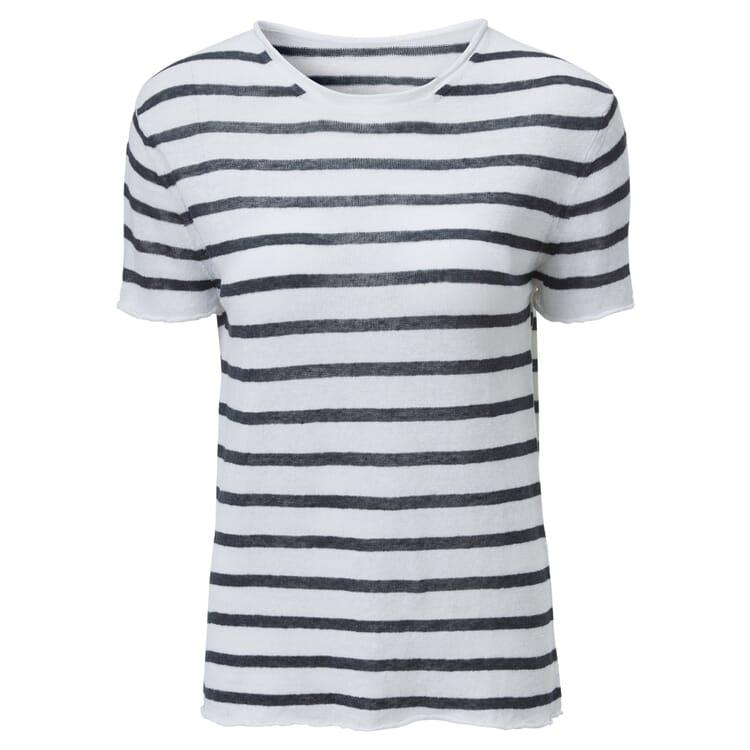 Women's Striped T-Shirt Made of Linen, White-Blue