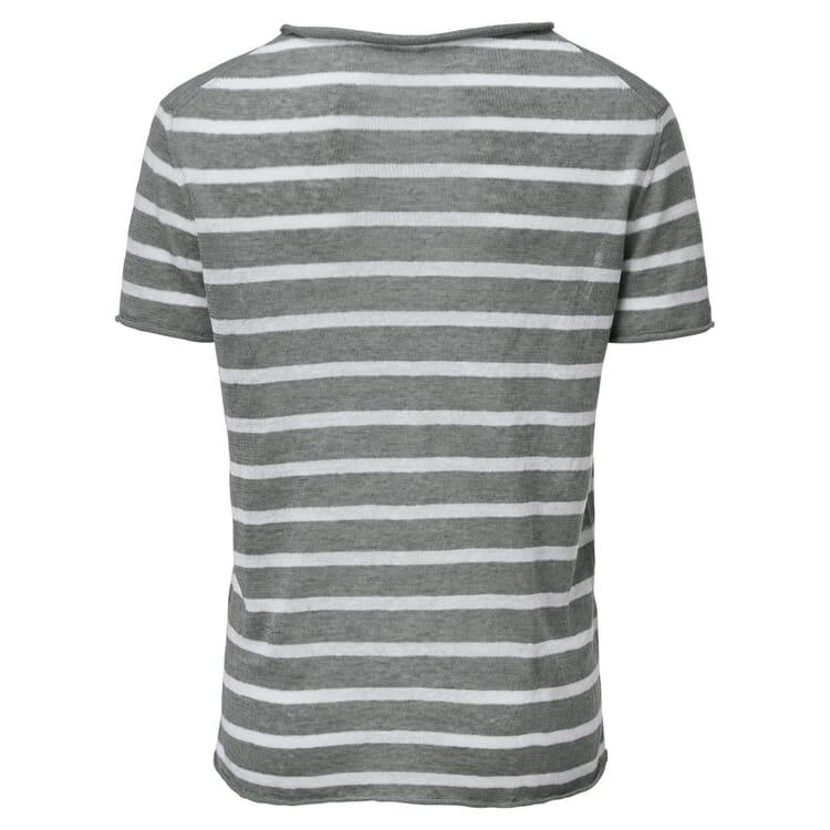 Women's Striped T-Shirt Made of Linen, Grey-White
