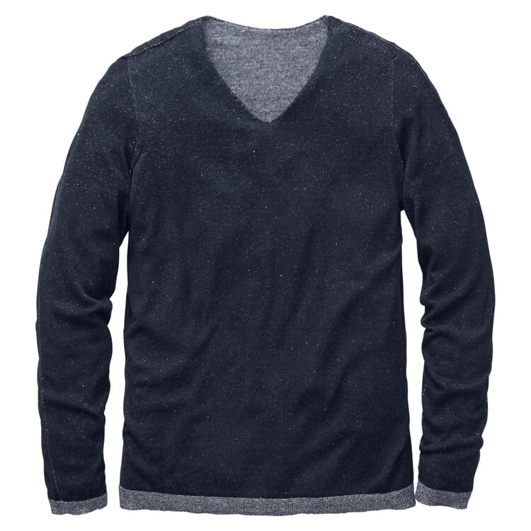 Men's Sweater with a V-Neck, Blue