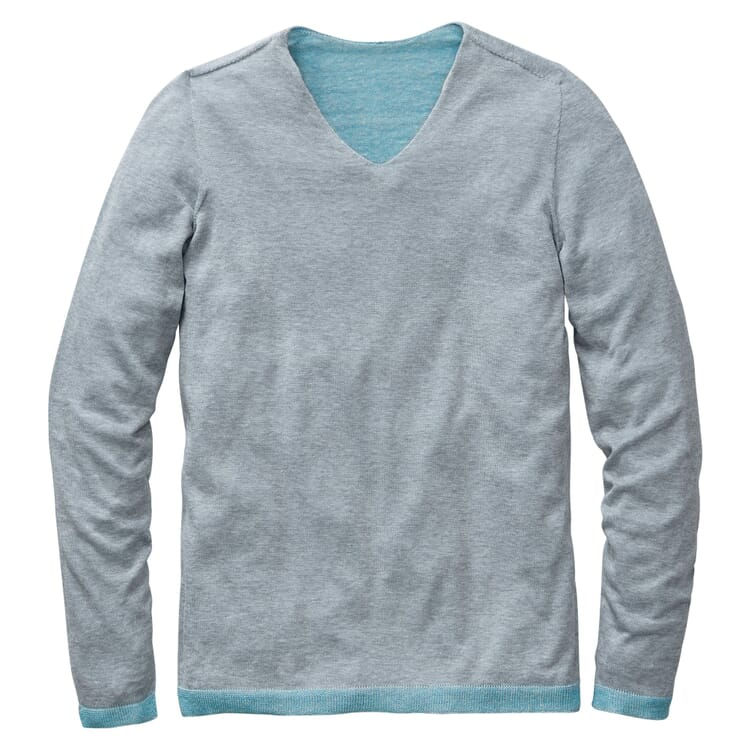 Men's Sweater with a V-Neck, Grey