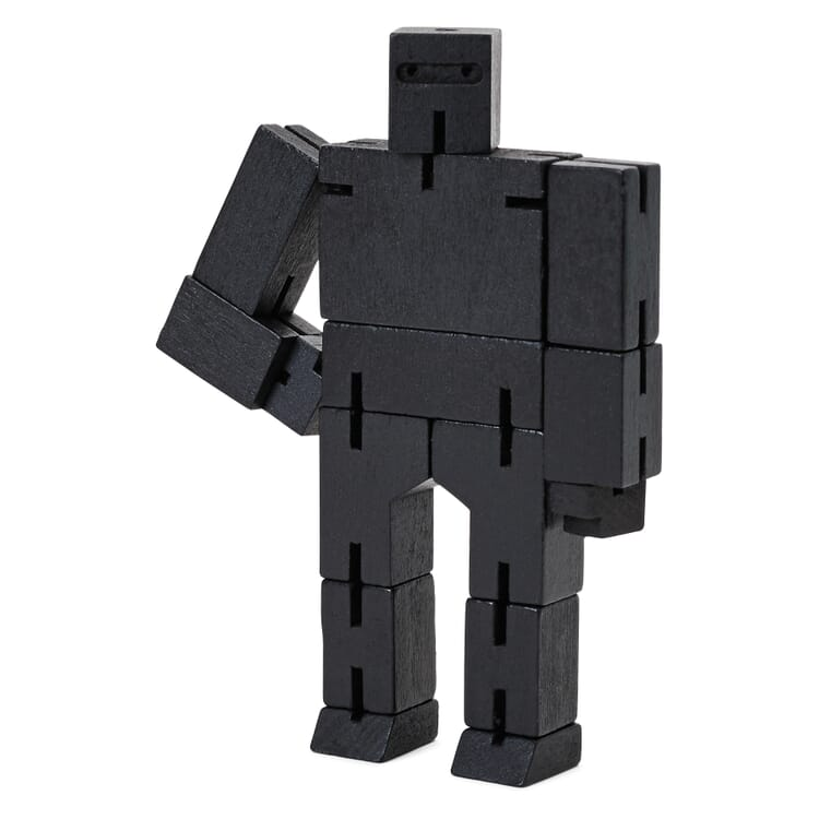 Holzfigur Cubebot, Schwarz