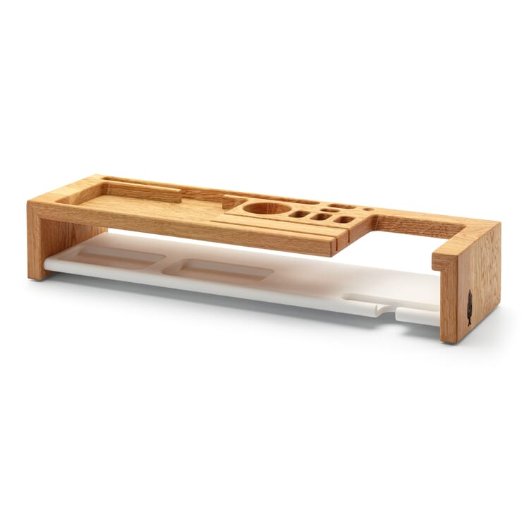 Organizer for Desktop Accessories Oak and Acrylic Stone