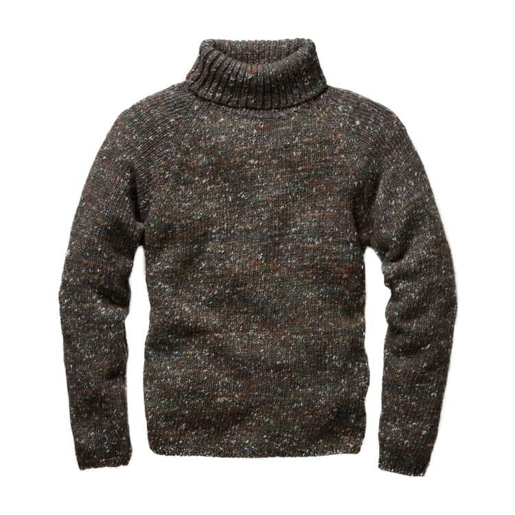 Men's Knit Pullover with Turtleneck, Mottled Brown