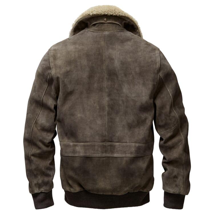 Men 's Fur Collar Bomber Jacket Made of He-Goat's Suede, Green Grey