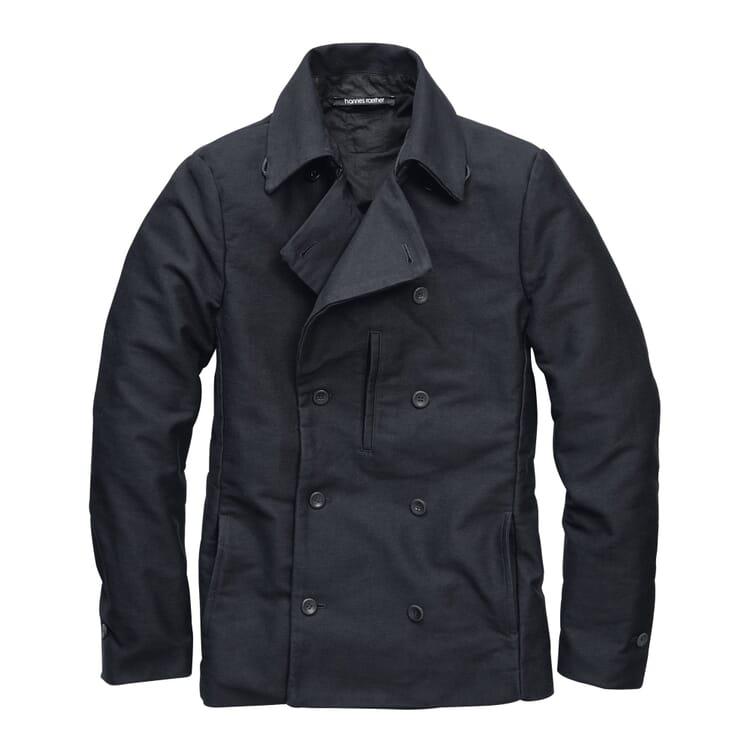 Men's Cotton Twill Pea Coat, Dark blue
