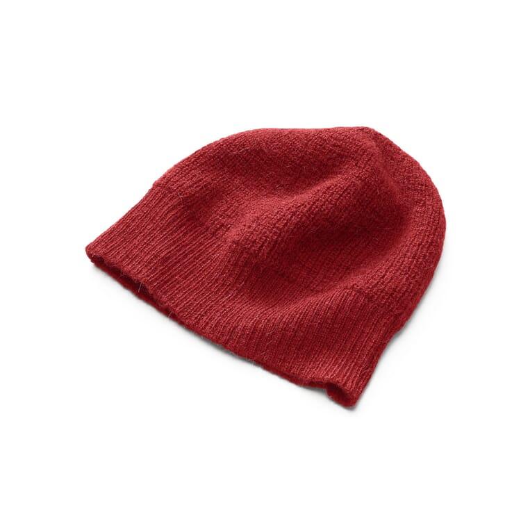 Damenstrickmütze Alpaka, Rot