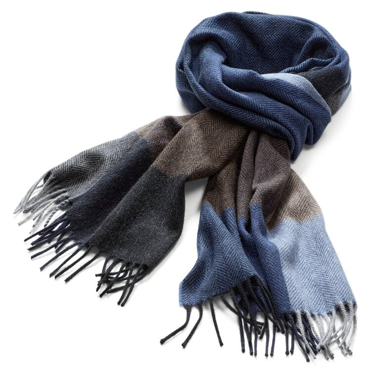 Herrenschal Kaschmir-Wolle Blau-Braun